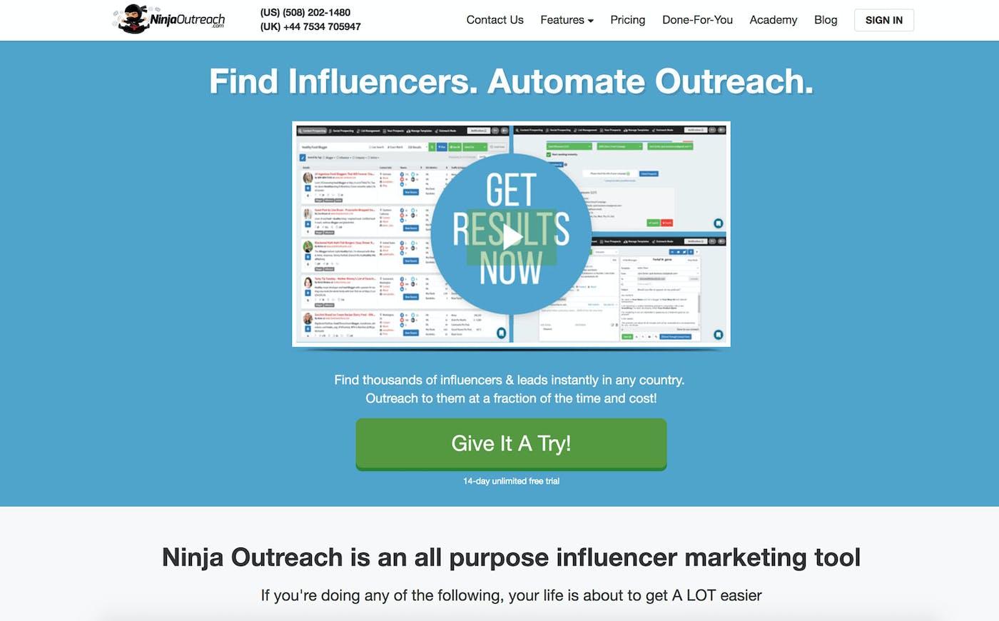 Ninja Outreach ابزاری است برای یافتن تأثیرگذار |  5 ابزار برتر بازاریابی آنفلوآنزا برای تبلیغ محتوا