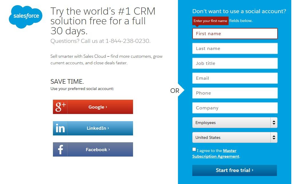 Muitas empresas agora estão dando aos clientes em potencial a opção de preencher suas informações por meio de suas plataformas de mídia social. Fonte: Salesforce