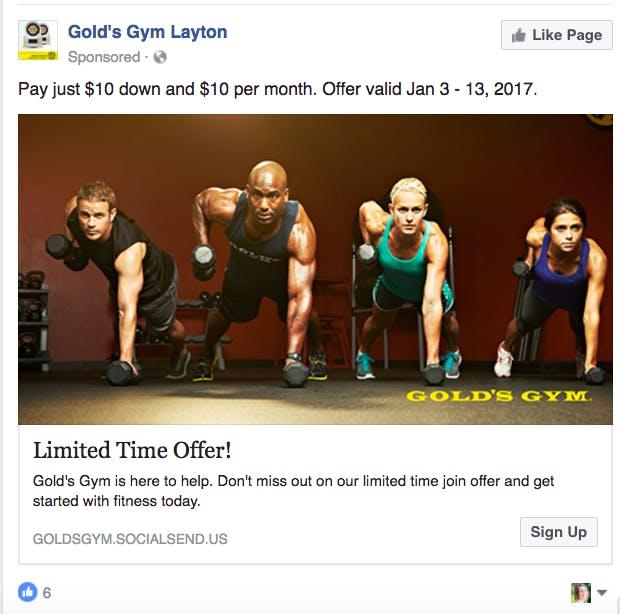 صفحه فیس بوک Gym Gold