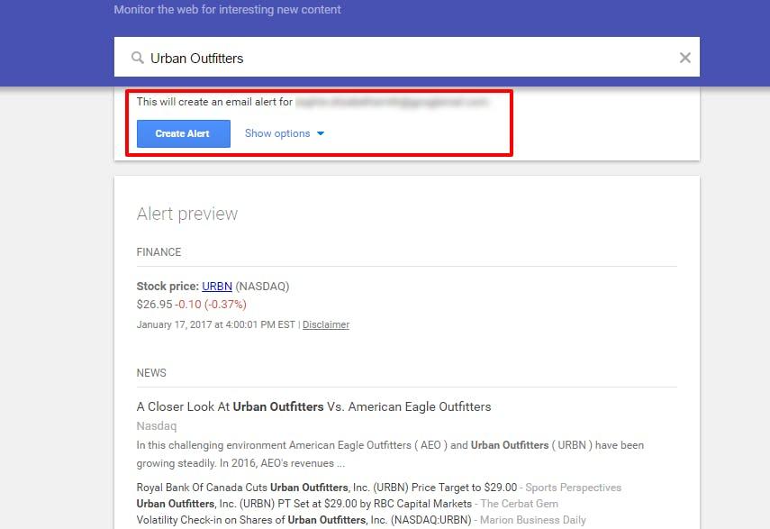 تنظیم Google Alerts یک روش ساده دیگر برای نظارت بر رقابت است.