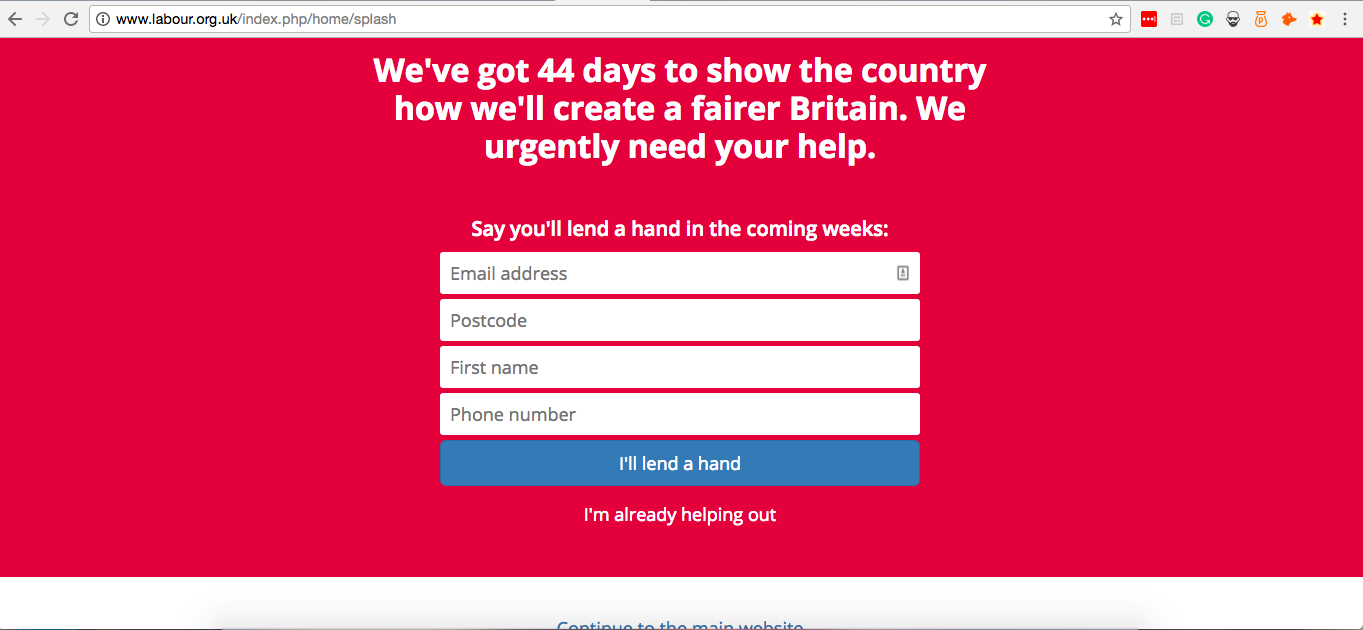 Labour party website used urgency tactics during the campaign.