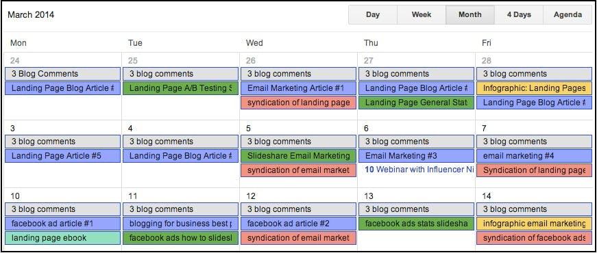 Tenha um calendário de conteúdo