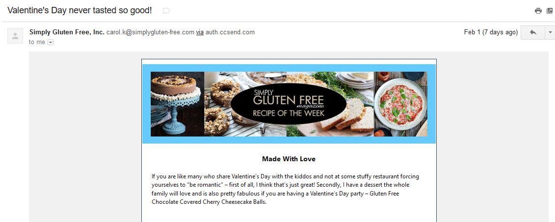 Valentine's email marketing campaign.