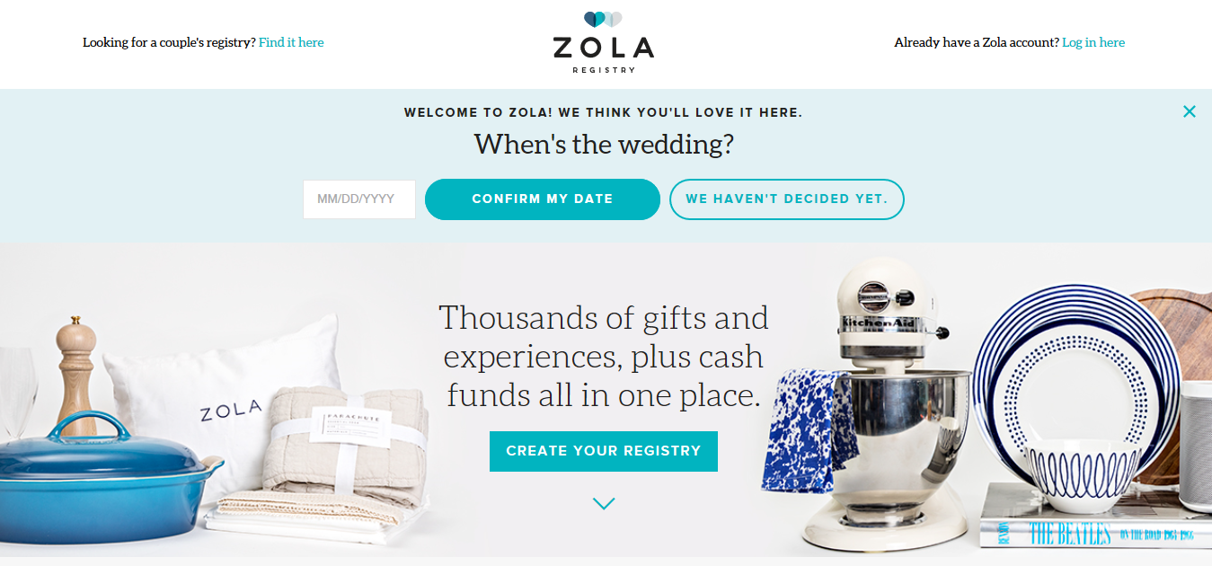 Example of a great landing page. Image: Zola